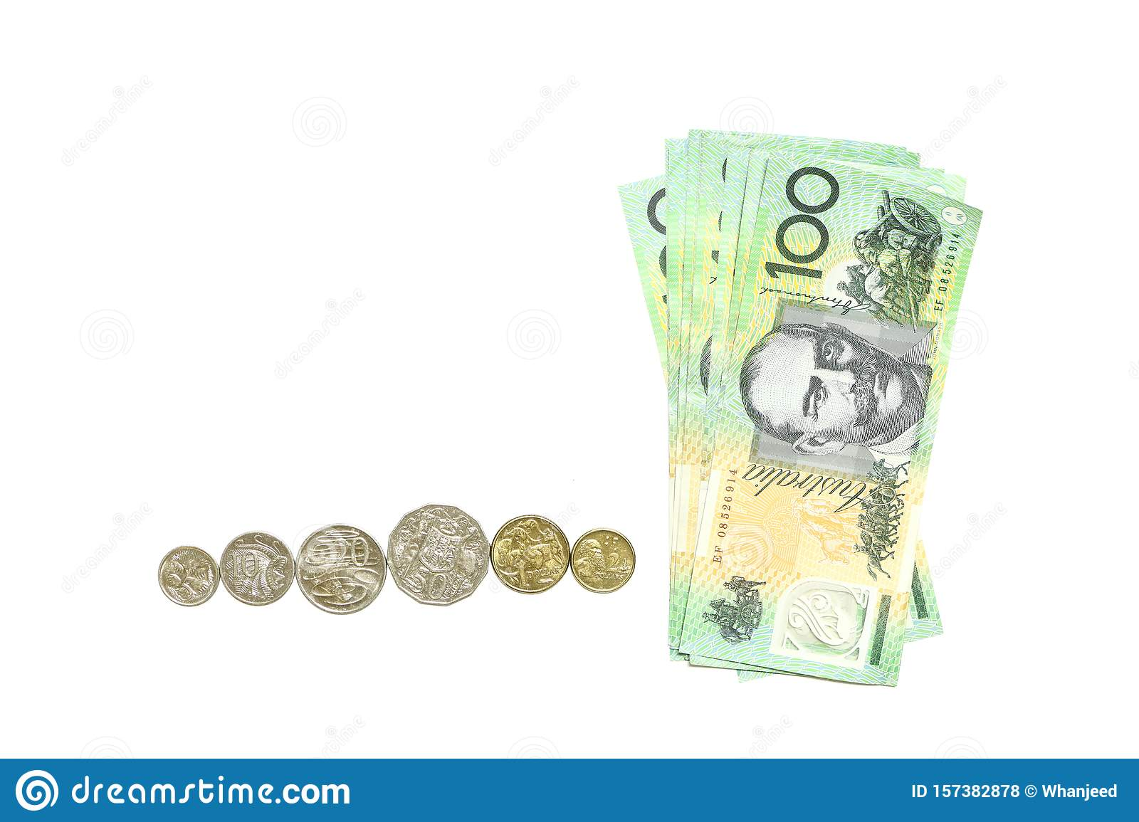 Group of 100 dollar Australian notes and many coins aud on white background