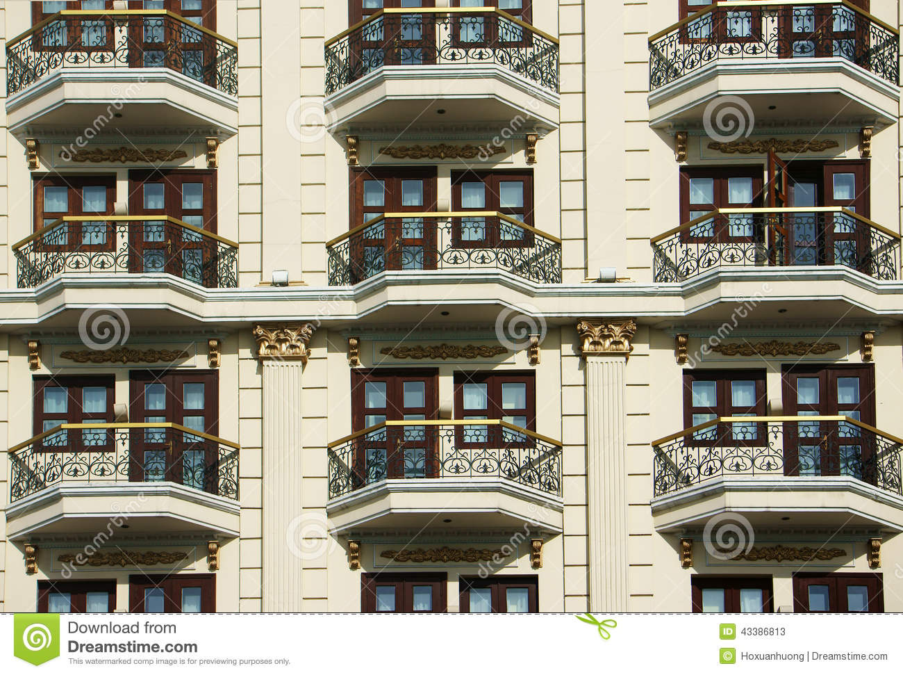 Group of door window at hotel stock photo image 43386813 for Luxury balcony design