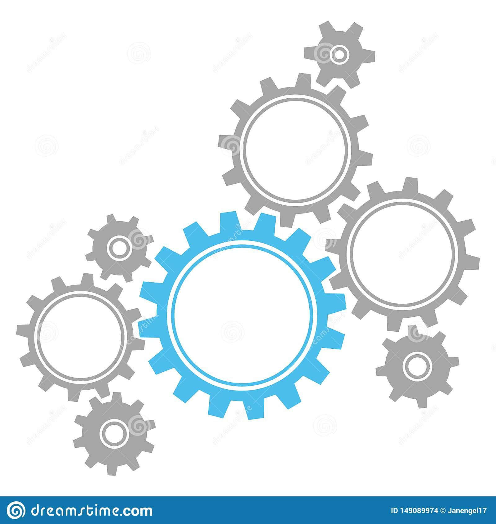 Eight Graphic Gears Blue And Gray