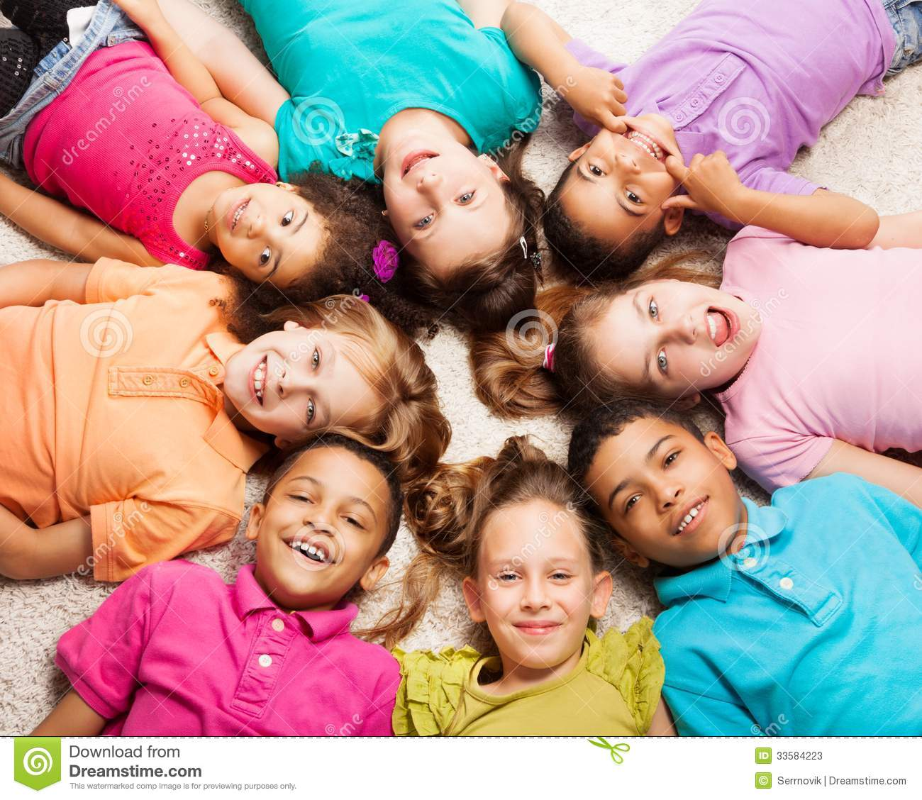 Group Of Eight Happy Kids In Star Shape Stock Image ...