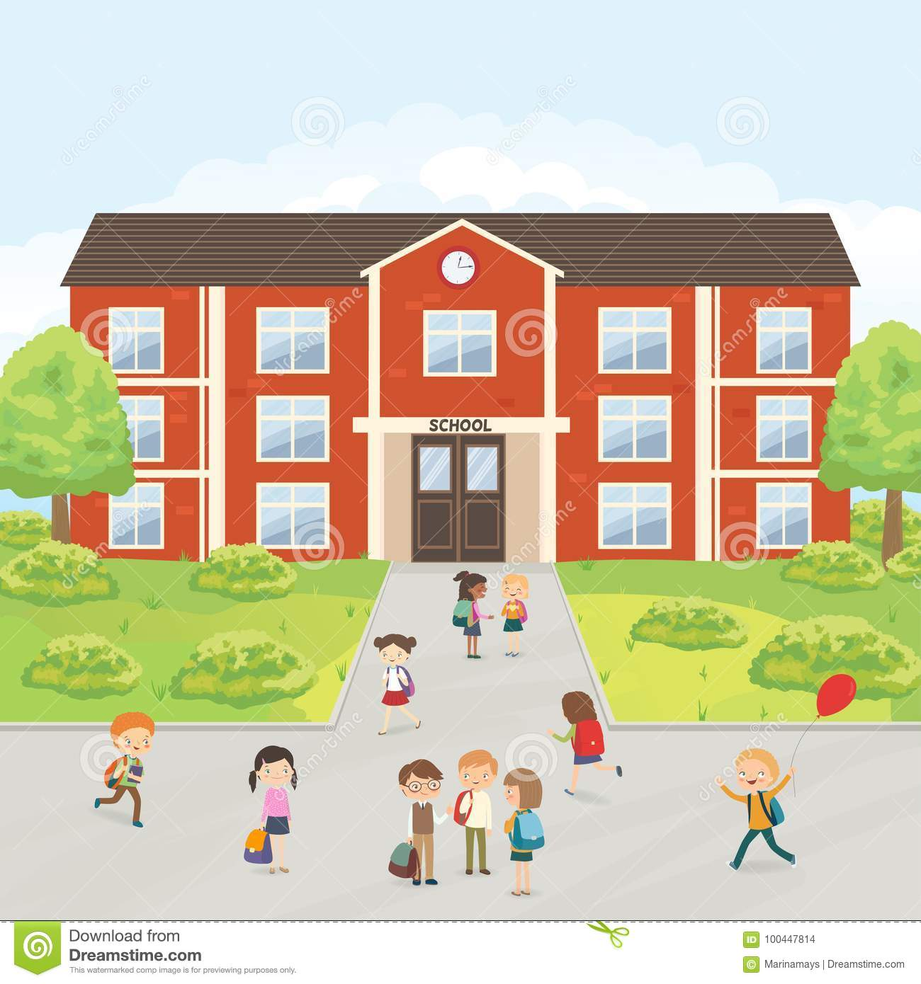 Group Of Elementary School Kids In The School Yard Stock Vector Illustration Of Primary Friendship 100447814