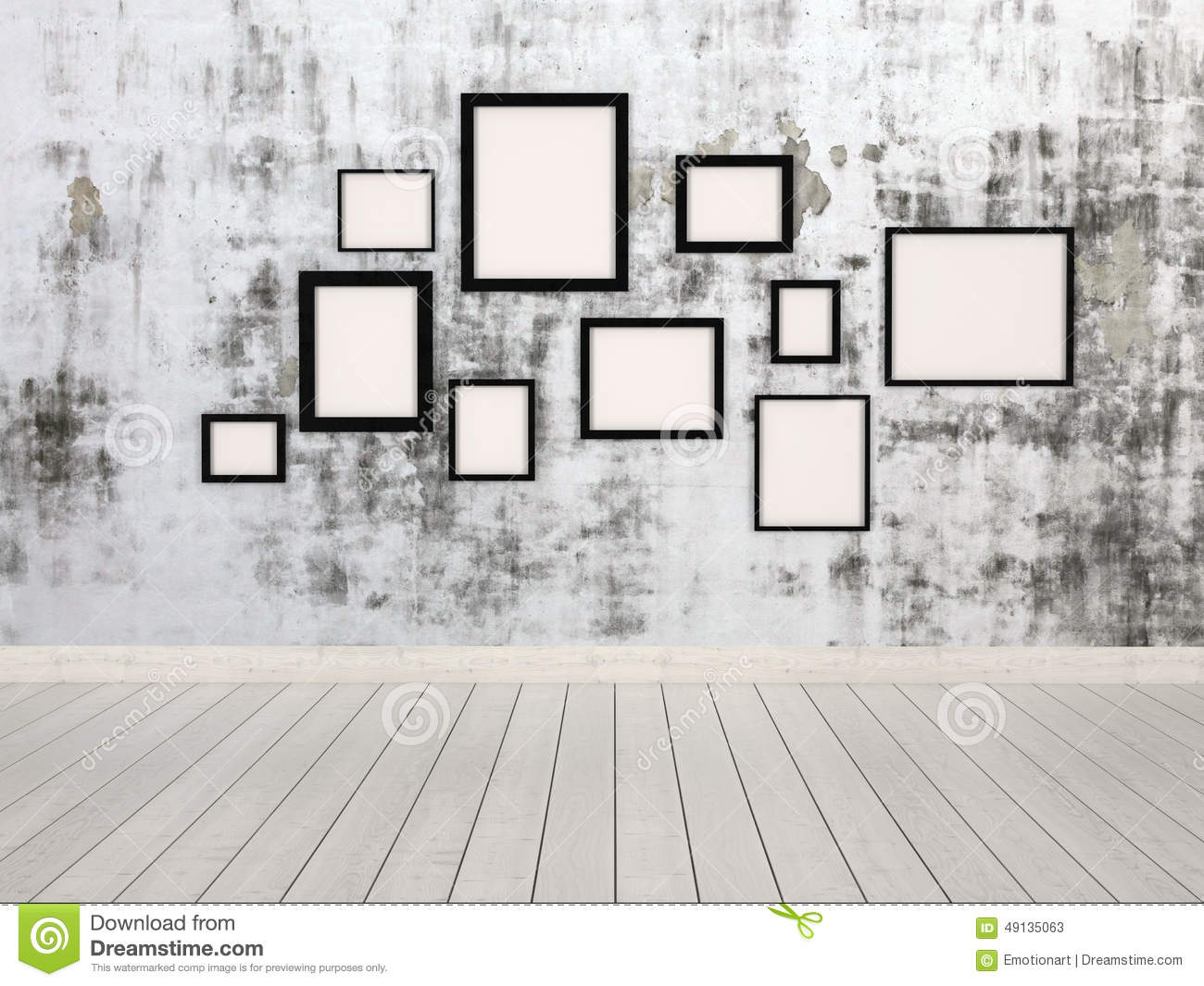 Group Of Empty Picture Frames Hanging On A Wall Stock Illustration ...
