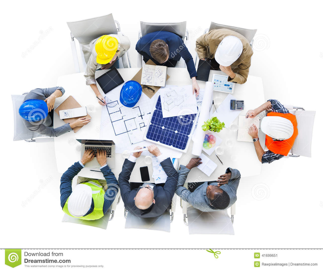 Group Of Engineers Planning In A Meeting Stock Photo