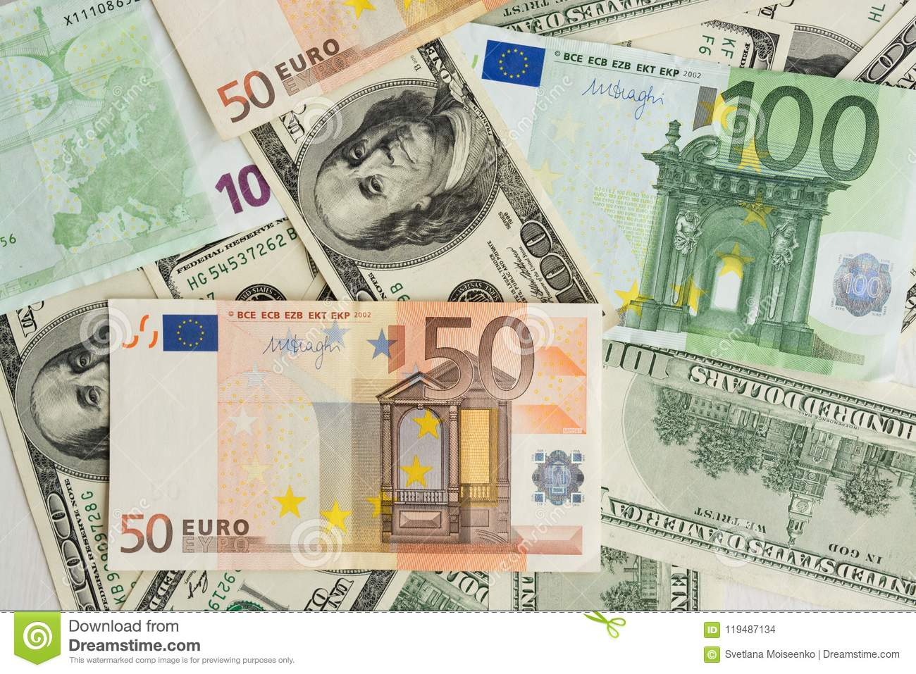 Group Of Euros And Dollars Close Up A Lot Of Money