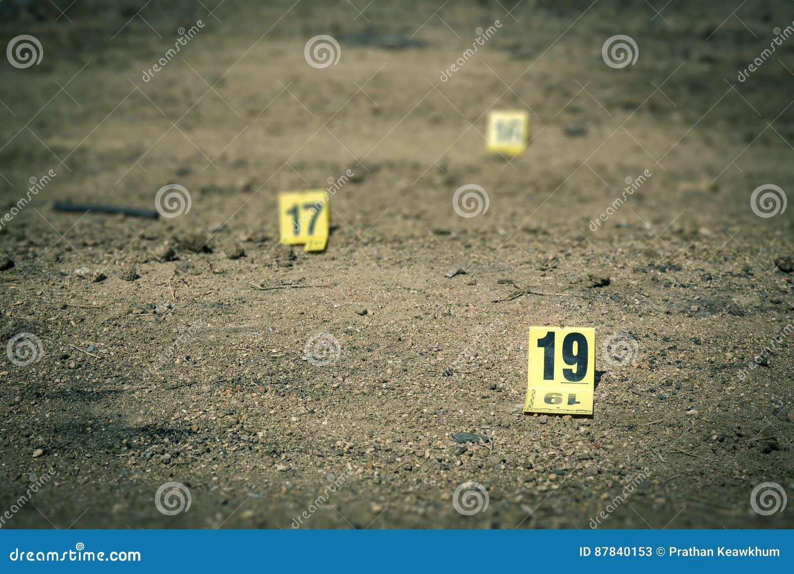 Group of evidence marker in crime scene investigation