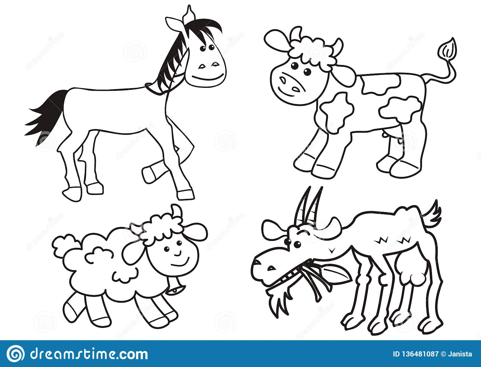 set of farm animals coloring page vector icon stock vector illustration of farm cute 136481087. Black Bedroom Furniture Sets. Home Design Ideas