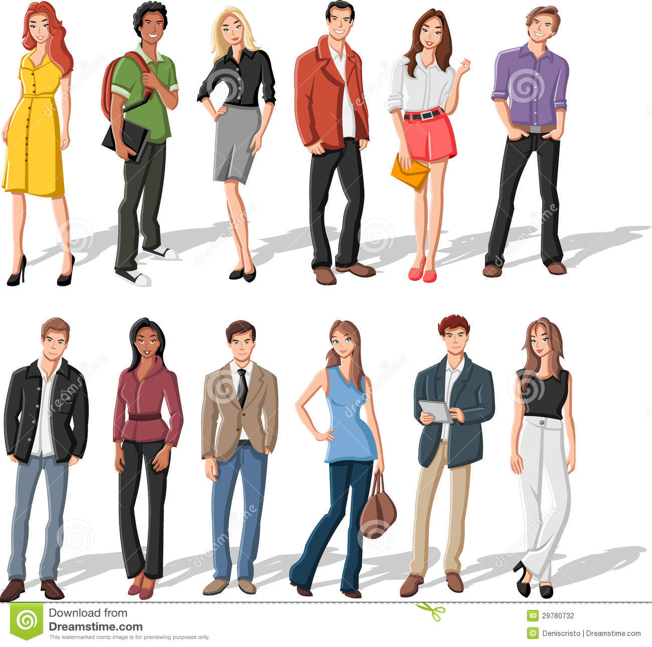 Group Of 6 Cartoon Characters : Cartoon young people stock vector illustration of friends