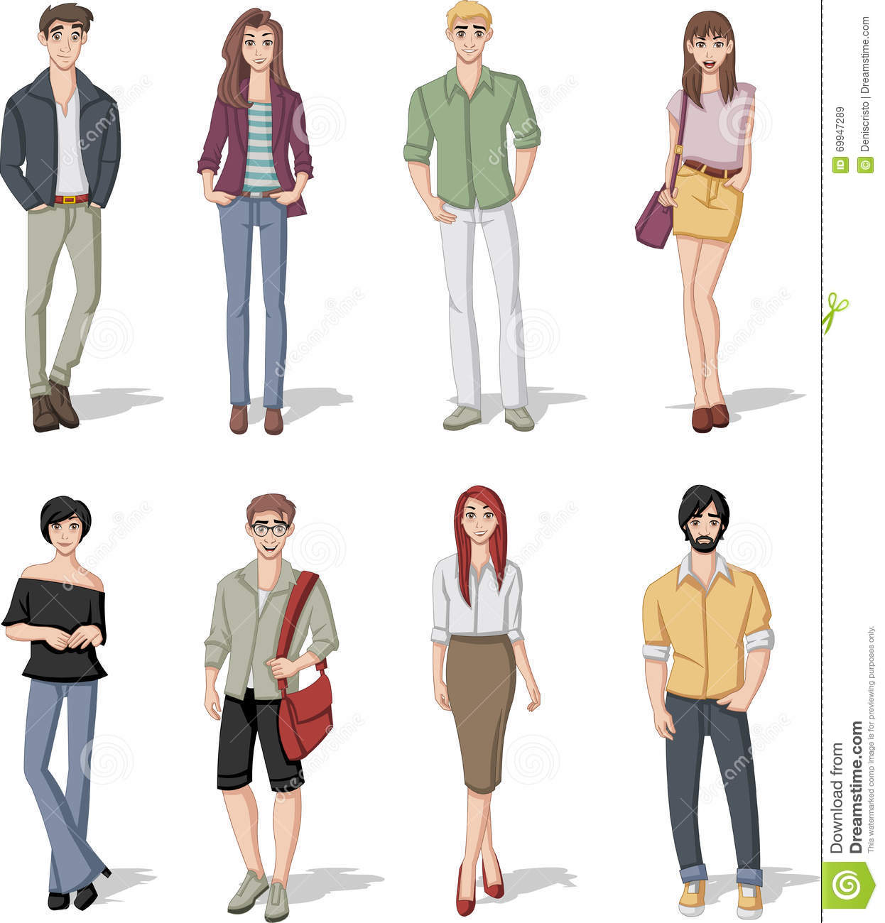 Group Of Fashion Cartoon Young People Stock Vector Image 69947289