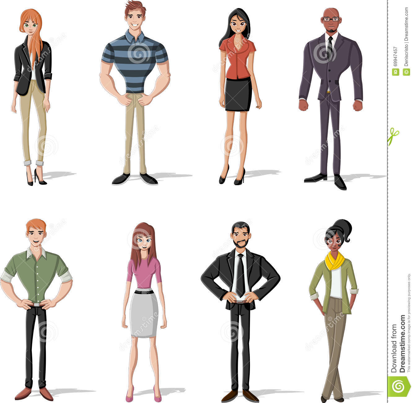 Group Of Fashion Cartoon Young People Stock Vector Image 69947457