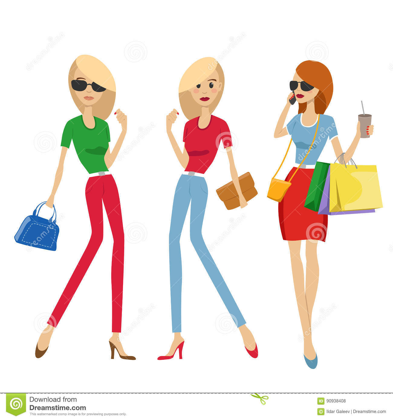 82a5db1f3e Royalty-Free Vector. Group of fashion women with shopping bags and handbags