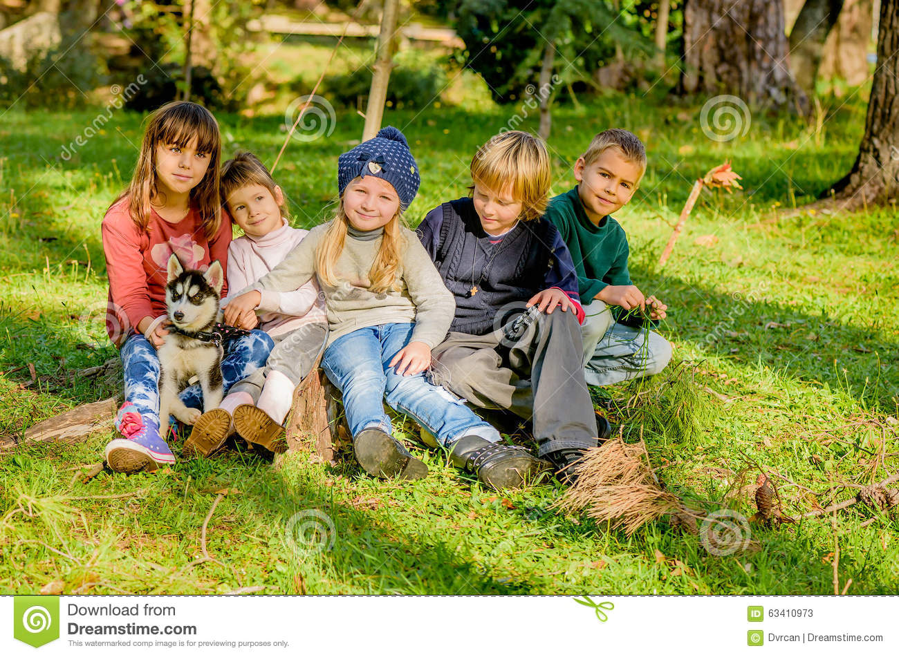 Group of five kids playing with husky puppy in the park