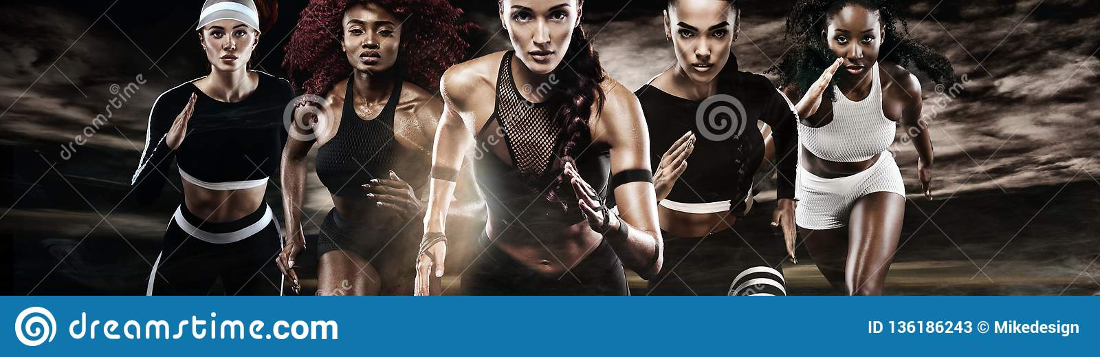 Group of five strong athletic women, sprinters, running on dark background wearing in the sportswear, fitness and sport