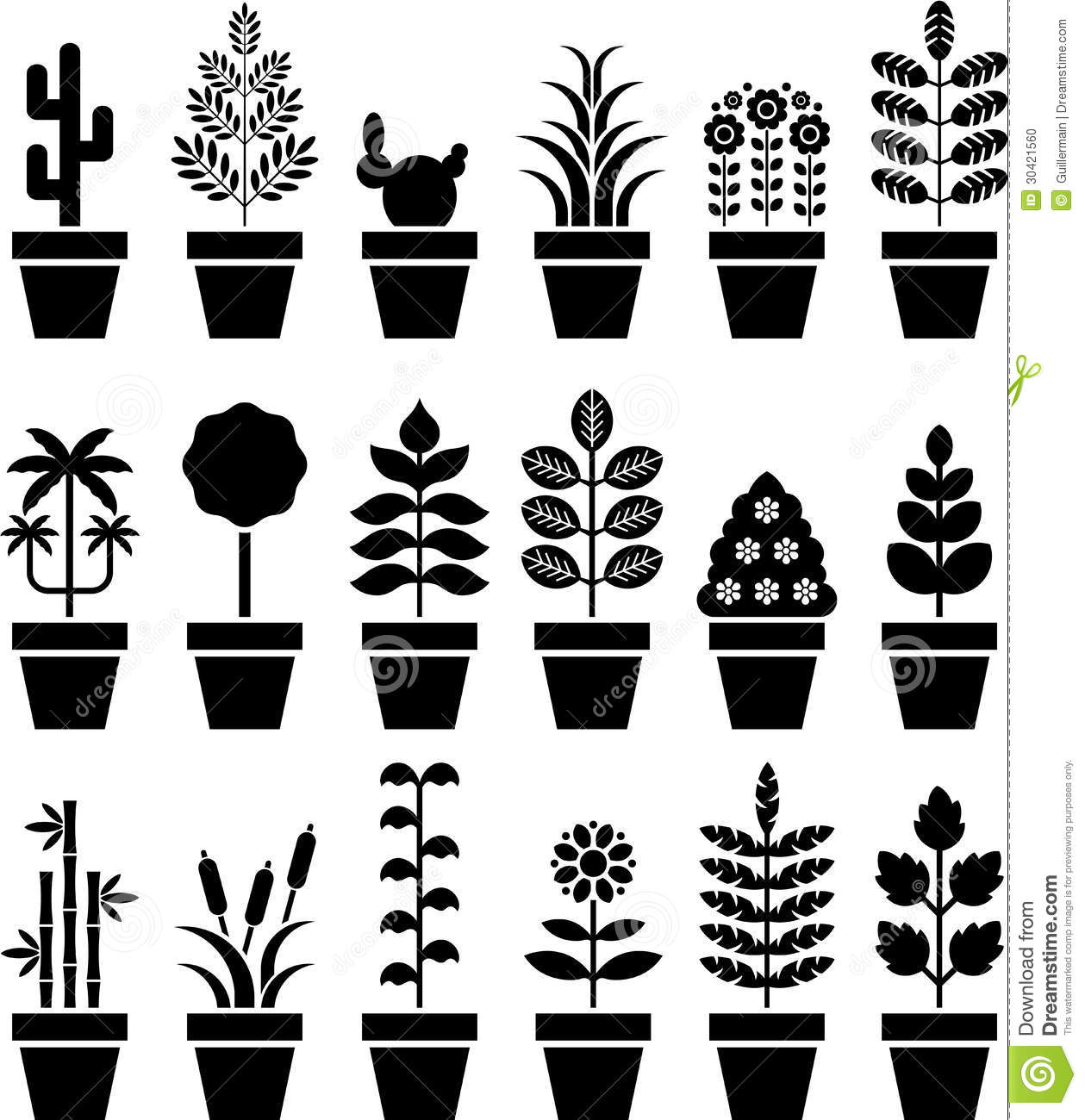 Group Of Flower Pot Icons Stock Vector Illustration Of Graphics