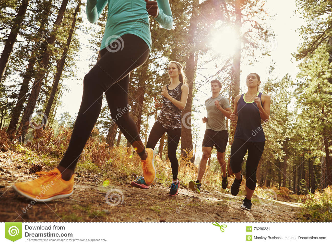 Group of four adults running in a forest, low angle close up