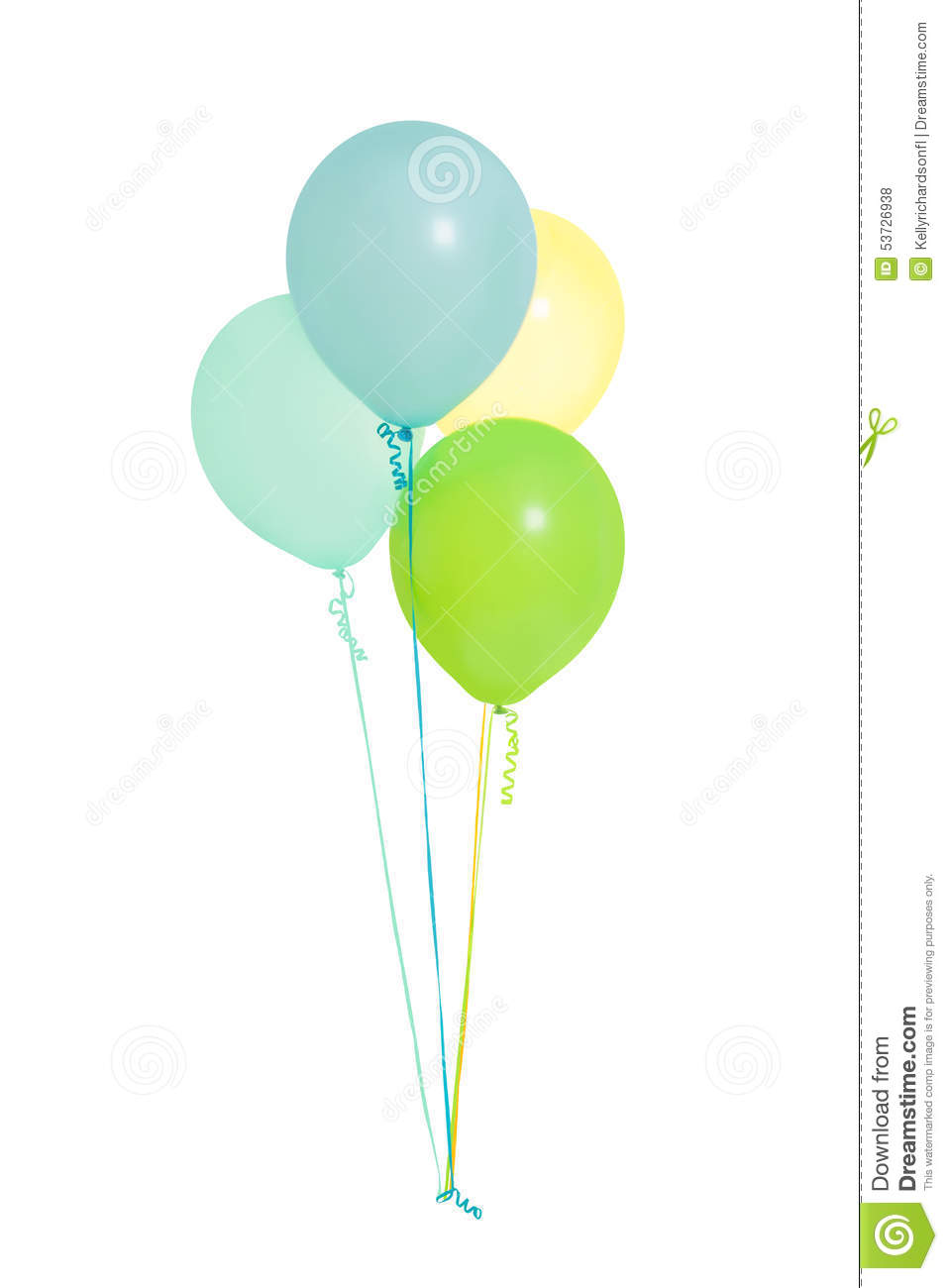 Green and blue balloons - Group Of Four Blue Green Yellow Balloons Isolated