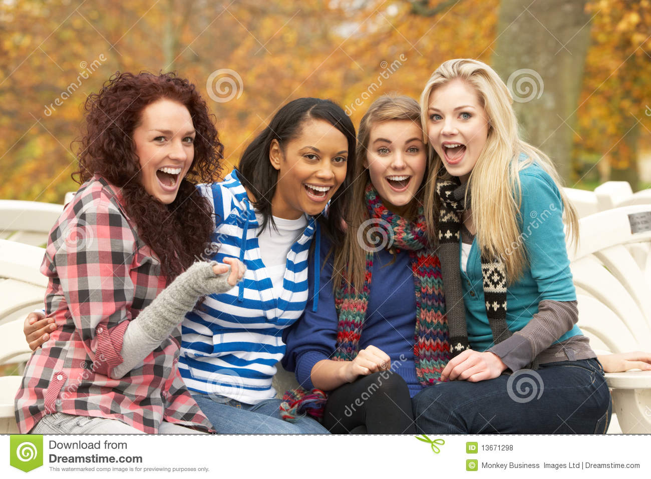 ... Girls Sitting On Bench Royalty Free Stock Photos - Image: 13671298