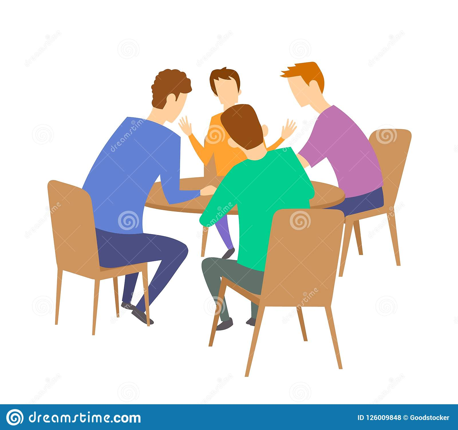Group of four young people having discussion at the table. Brainstorming. Flat vector illustration. Isolated on white
