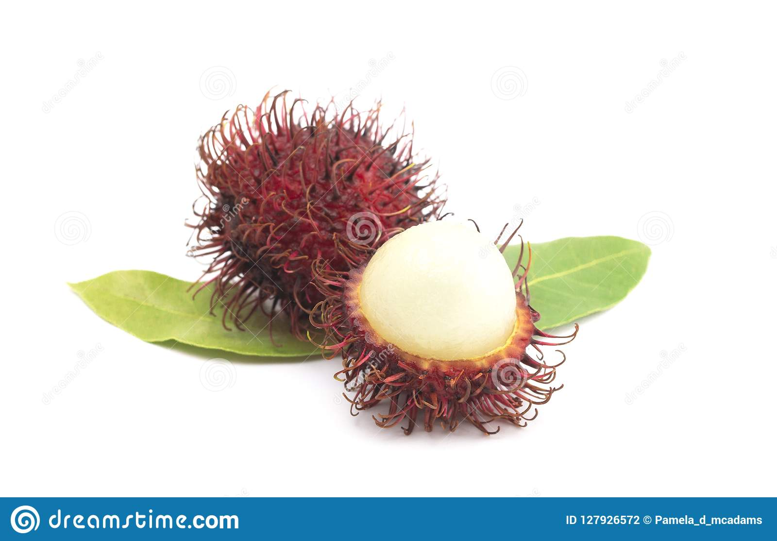 Group of Fresh Red Rambutan Isolated on a White Background