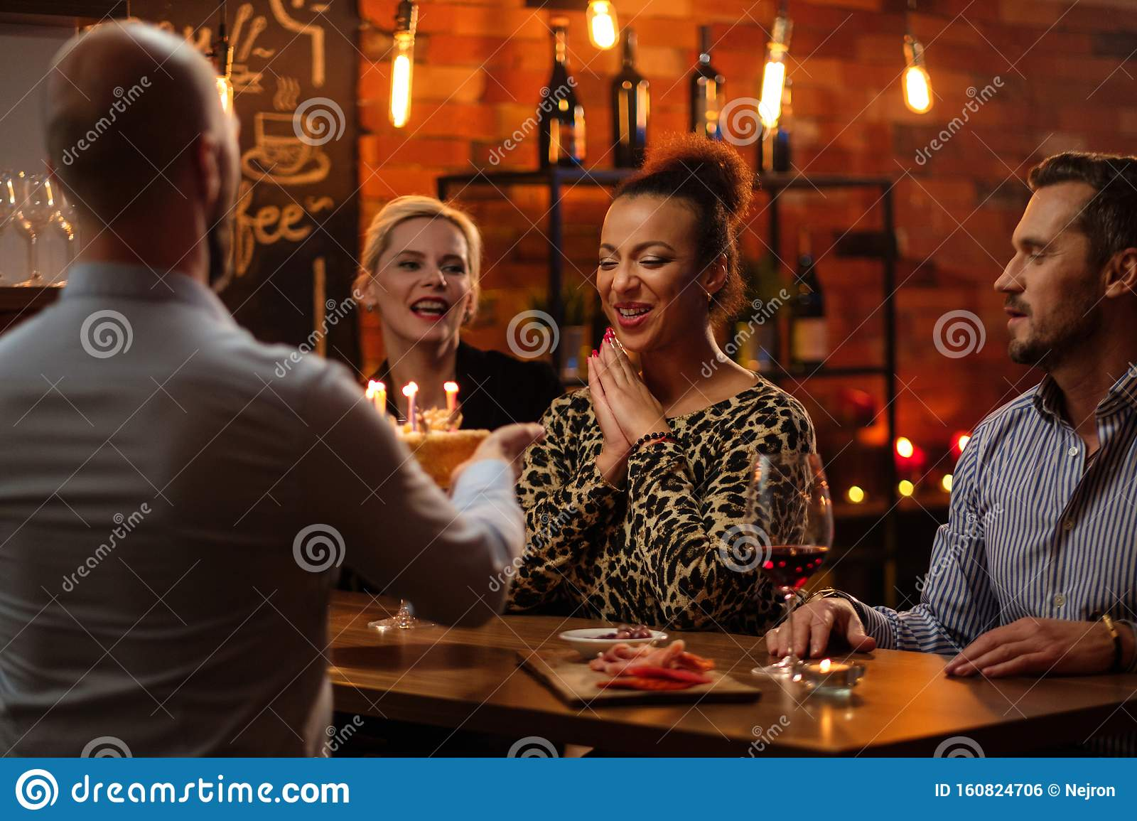 Group Of Friends Celebrating Birthday In A Cafe Behind Bar Counter Stock Photo Image Of Black Drink 160824706