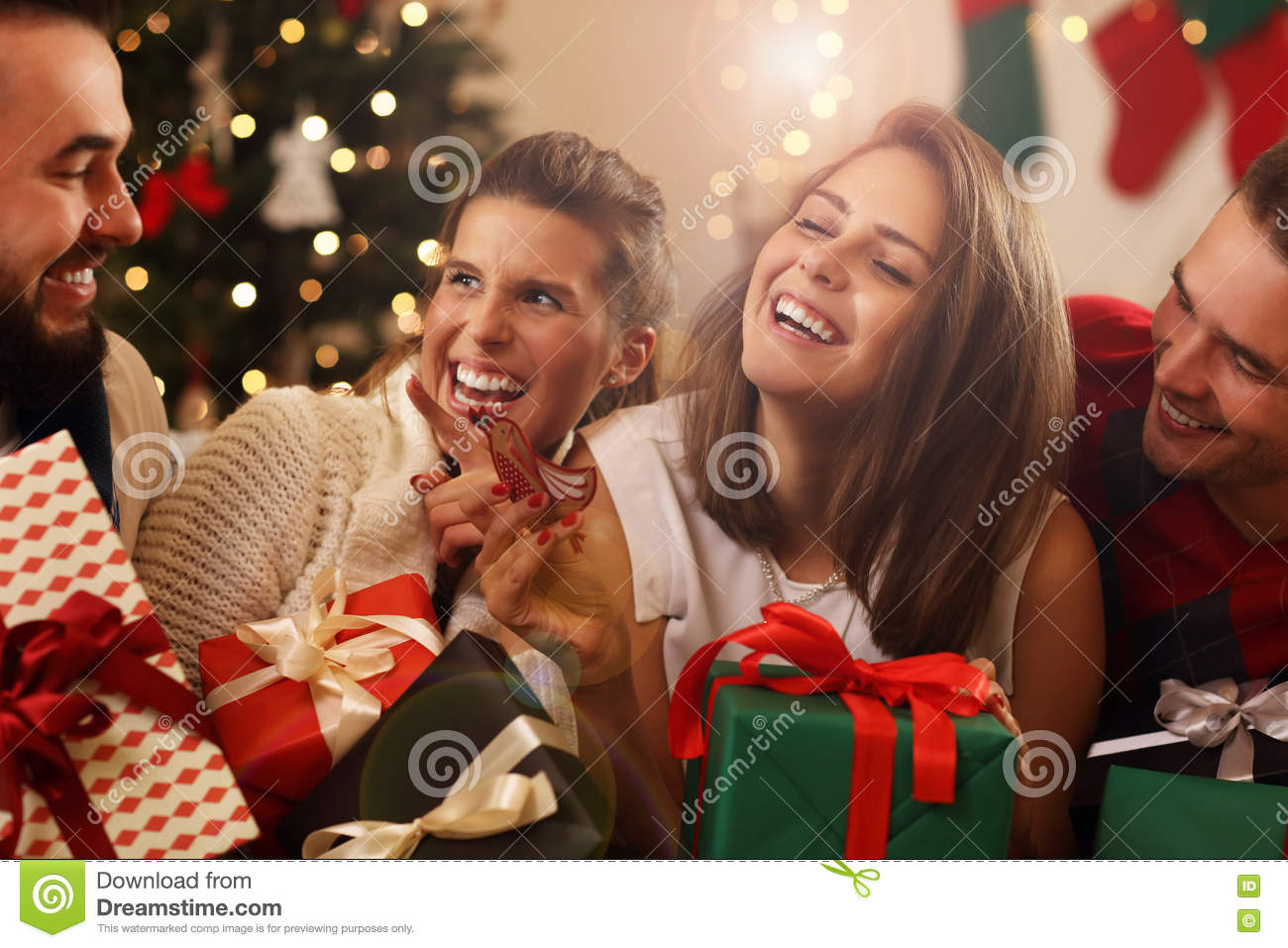 download group of friends with christmas presents stock photo image of drink female