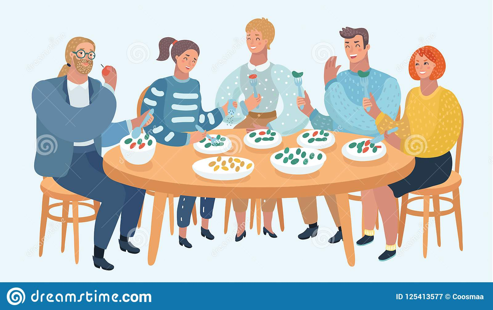 Group Of Friends Eating And Sharing Good Moods Stock Vector
