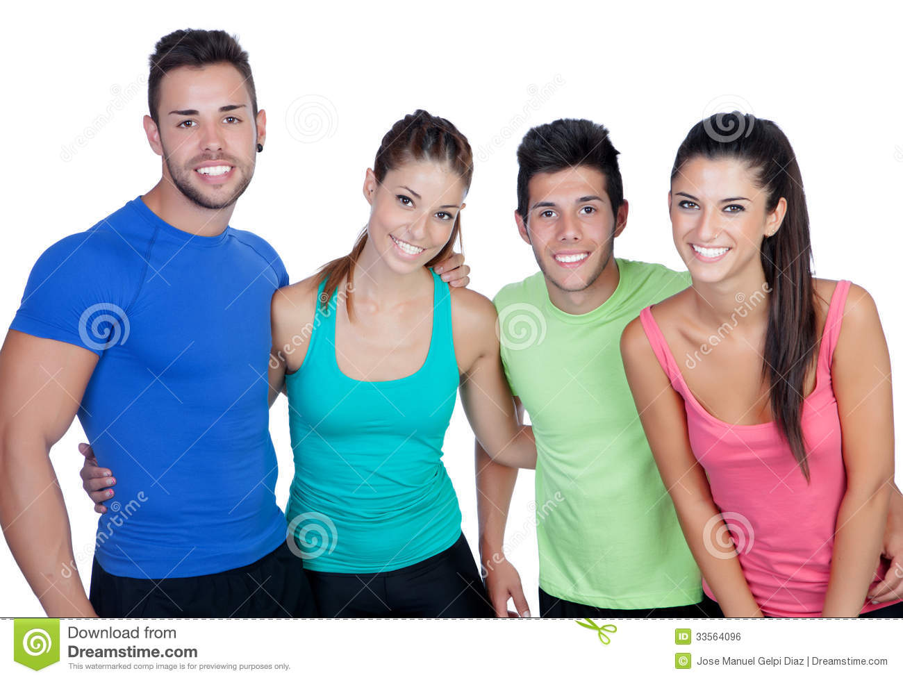group of friends with fitness clothes royalty free stock image image 33564096. Black Bedroom Furniture Sets. Home Design Ideas