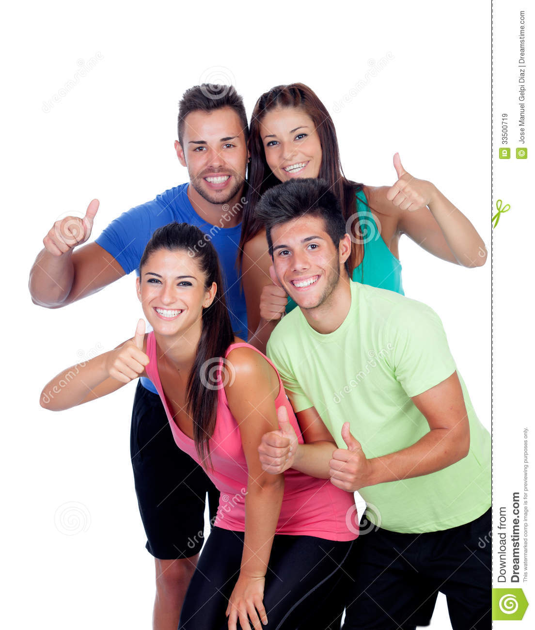 group of friends with fitness clothes stock photo 33564096. Black Bedroom Furniture Sets. Home Design Ideas