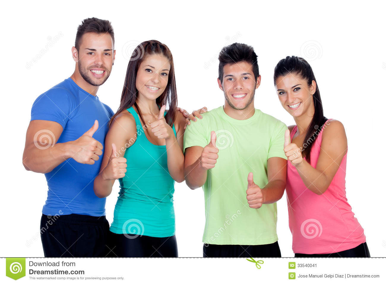 group of friends with fitness clothes saying ok stock image image 33540041. Black Bedroom Furniture Sets. Home Design Ideas