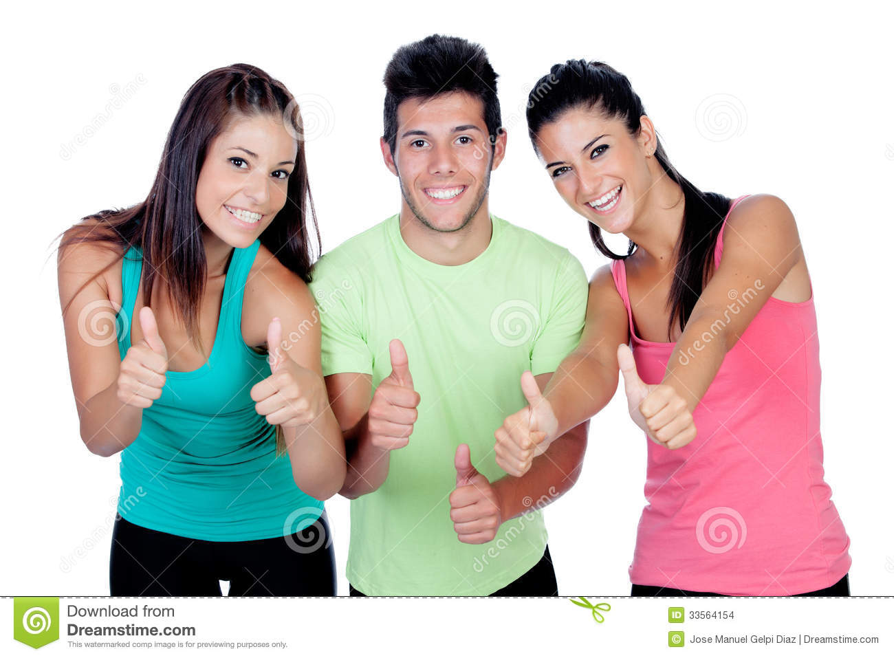 group of friends with fitness clothes saying ok stock images image 33564154. Black Bedroom Furniture Sets. Home Design Ideas