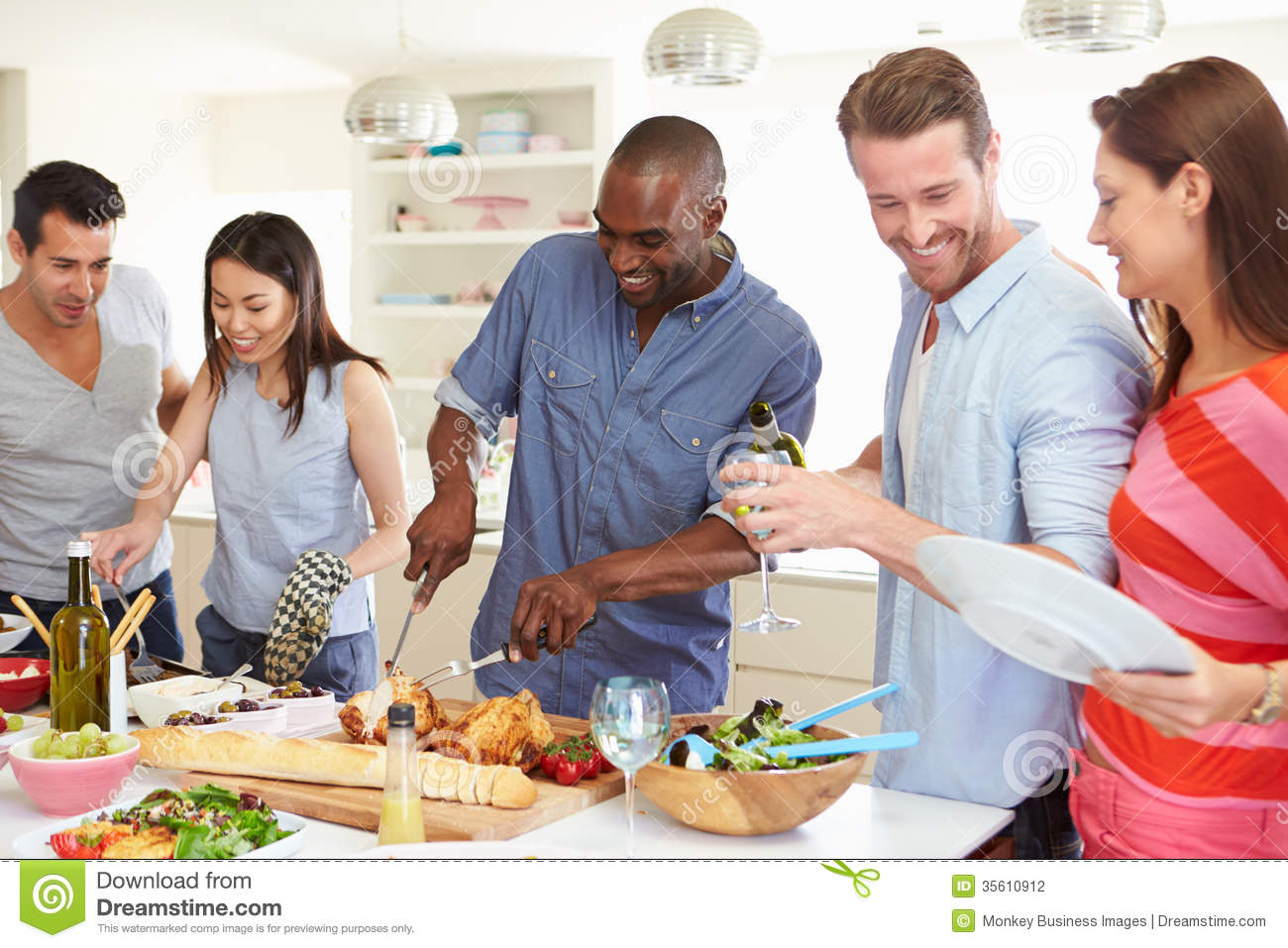 Group Of Friends Having Dinner Party At Home Stock Photography - Image ...