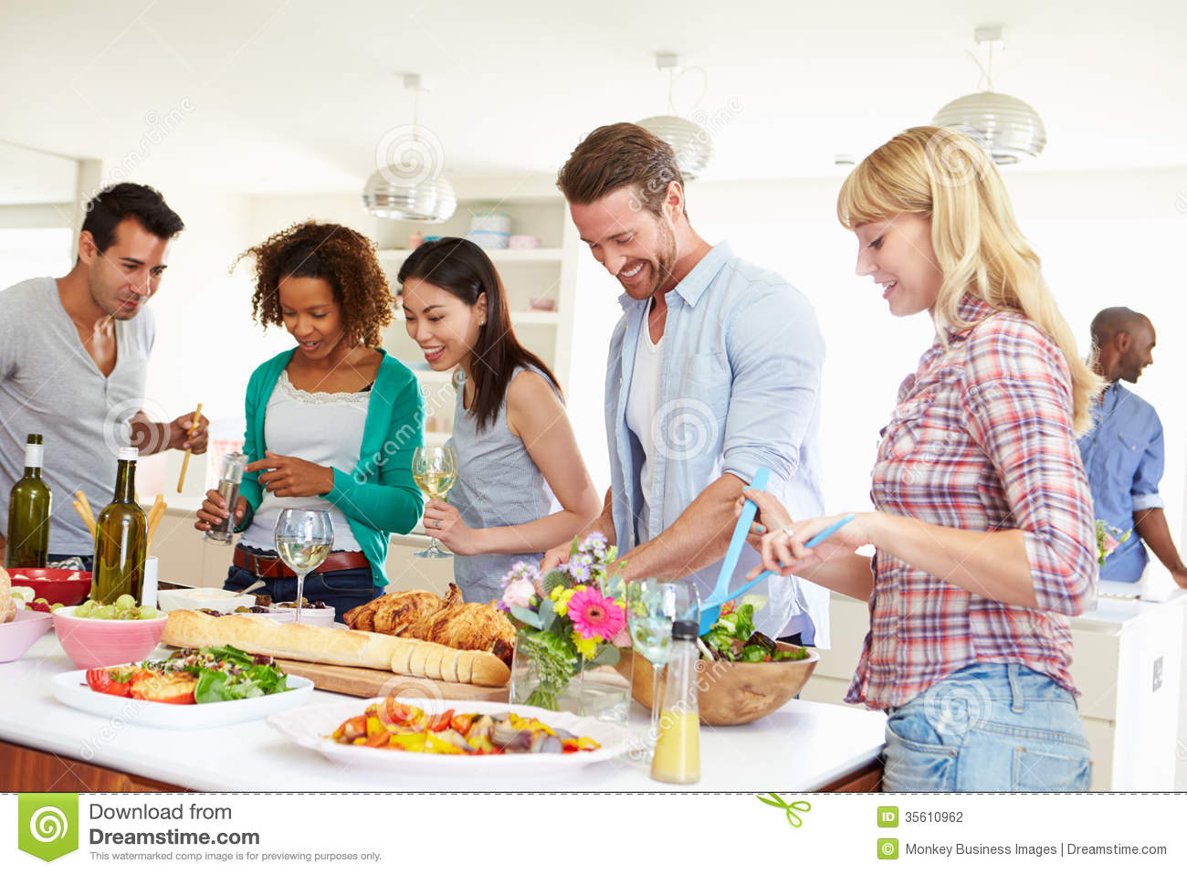 Group Of Friends Having Dinner Party At Home Stock