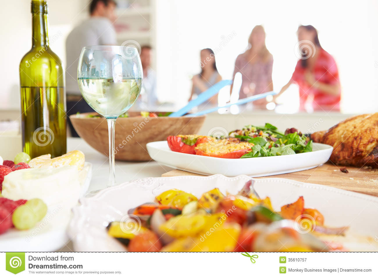 group of friends having dinner party at home stock image image of
