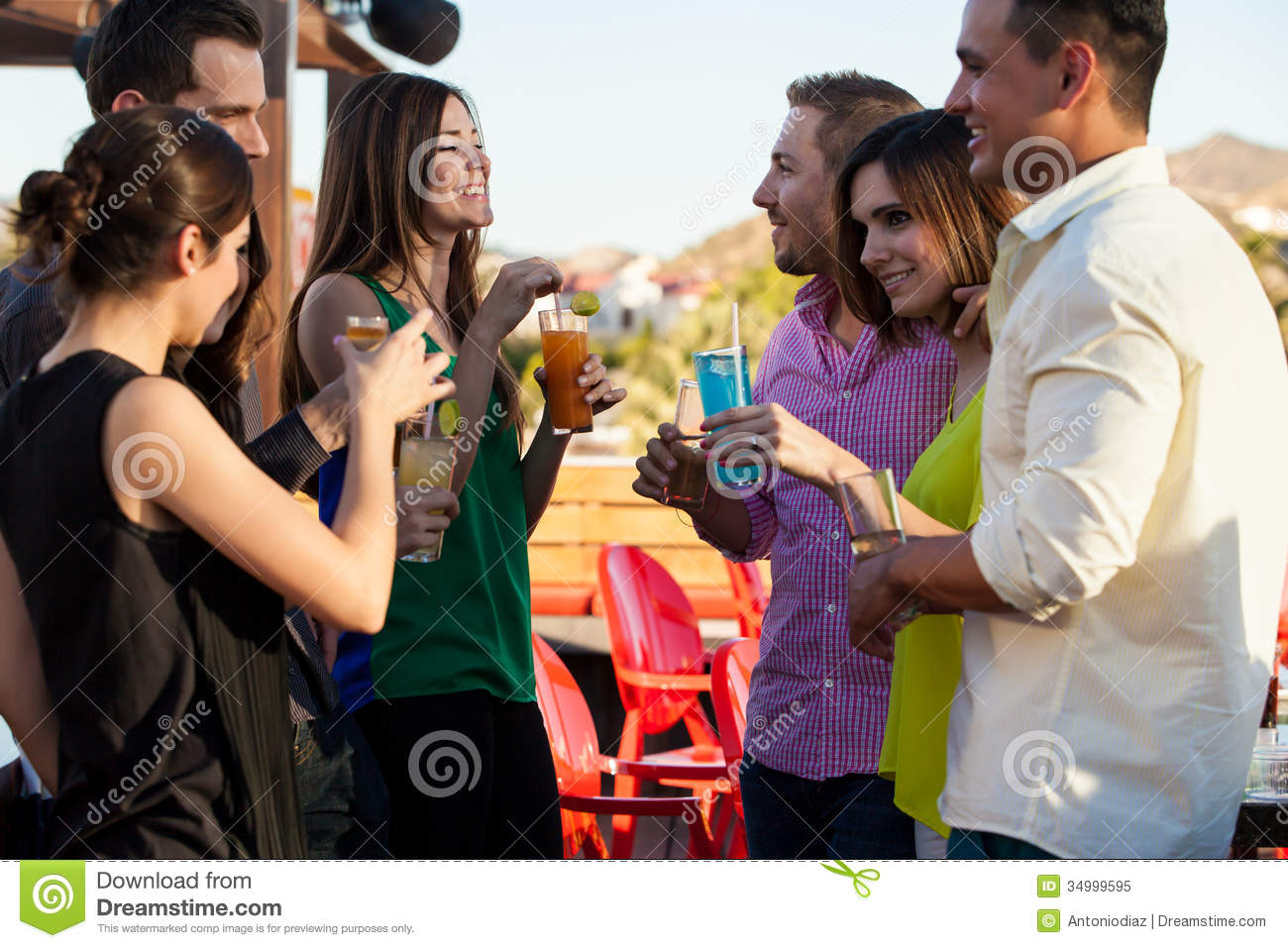 Group of friends having drinks royalty free stock photo for Hanging groups of pictures