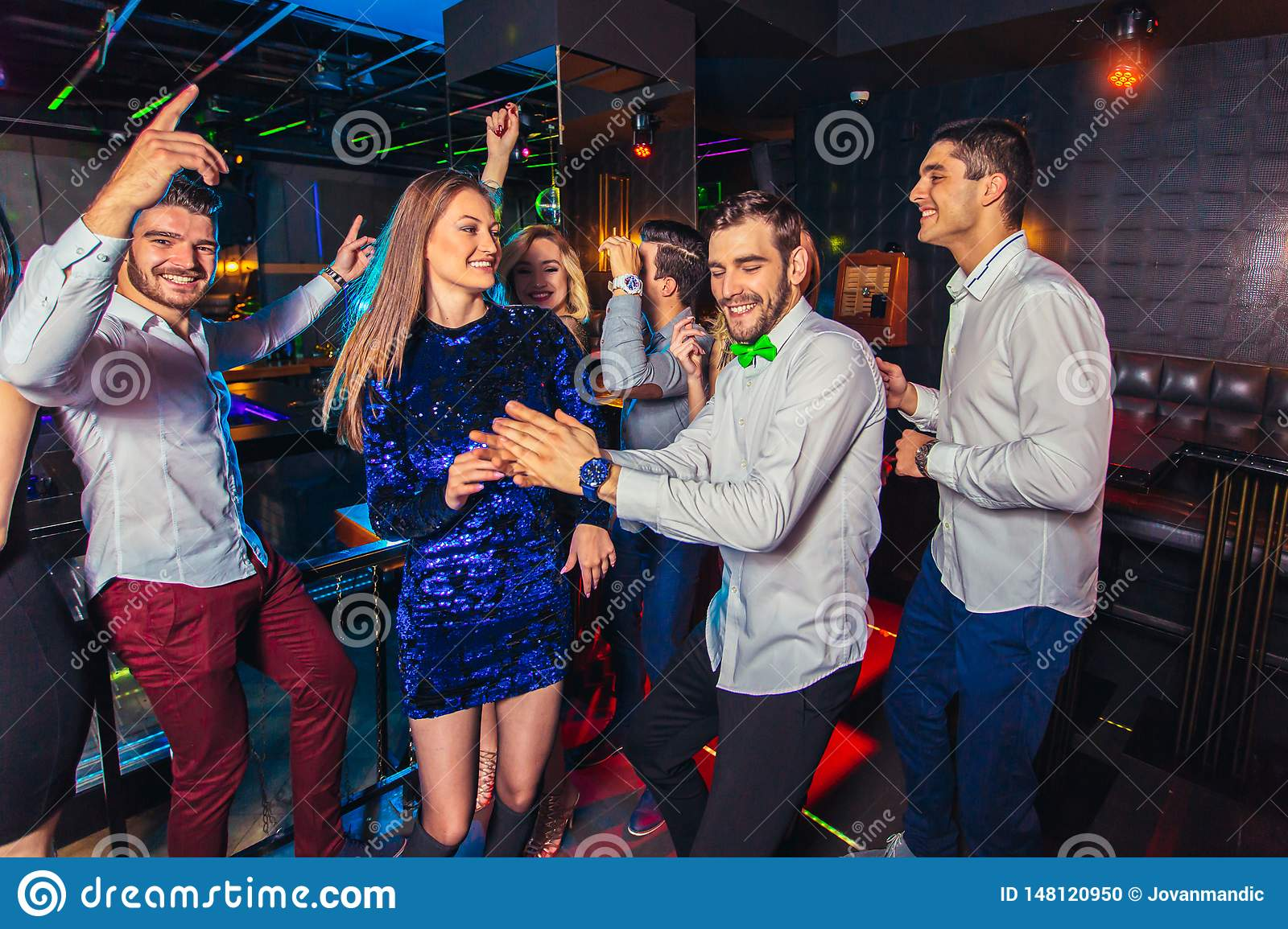 Friends partying in a nightclub