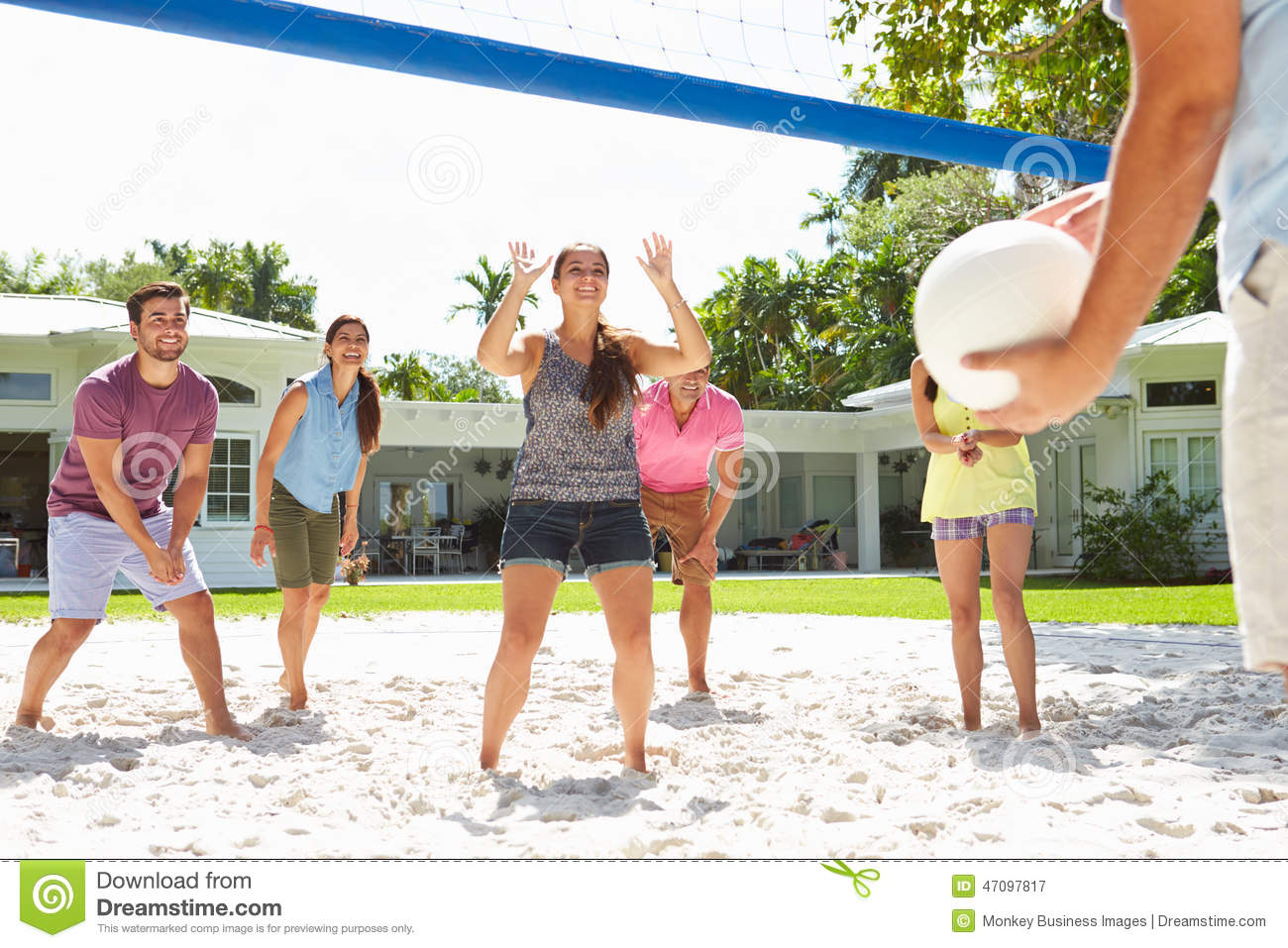 Group Of Friends Playing Volleyball In Garden Stock Photo ...