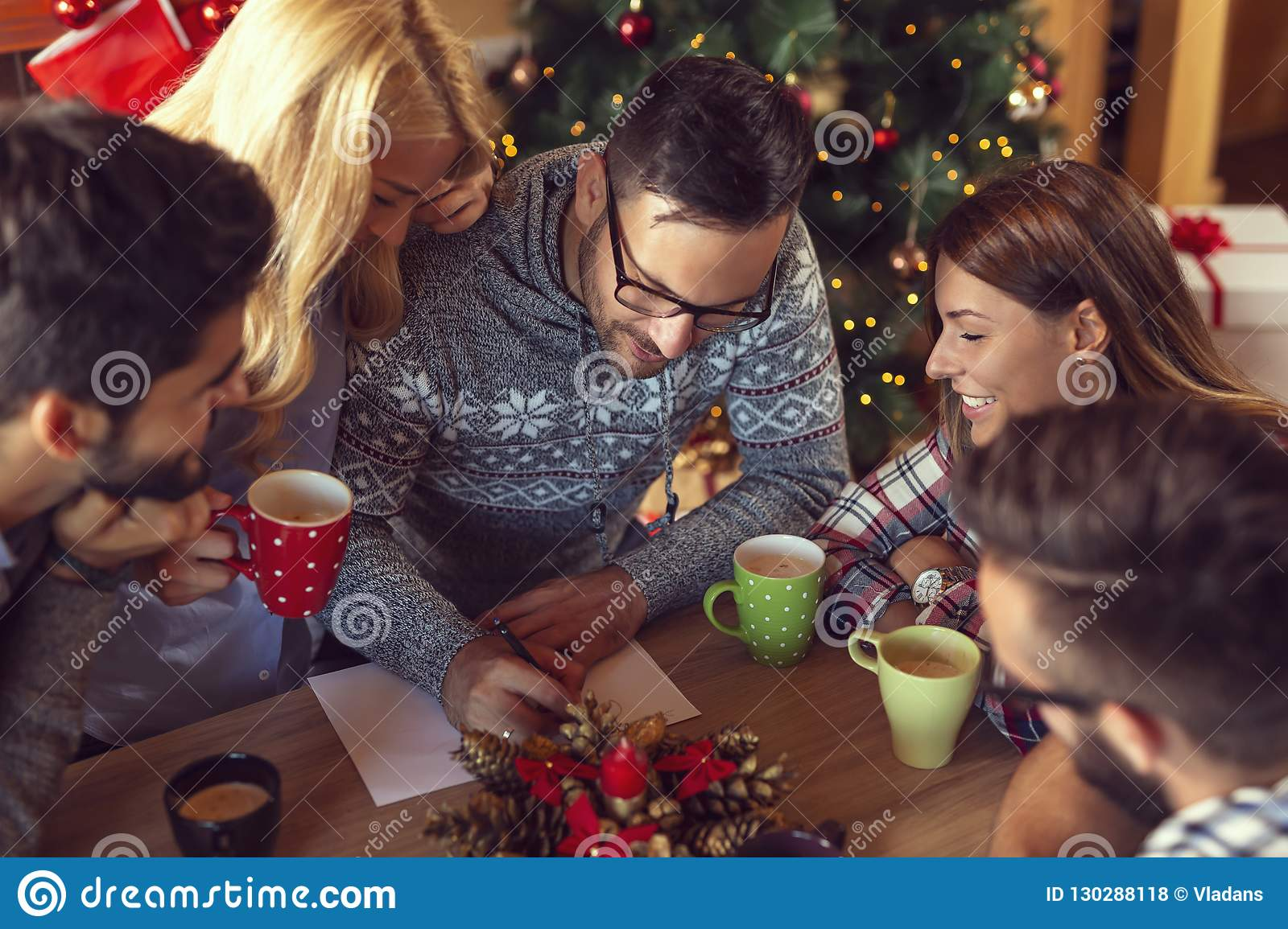 The Christmas Clause.Writing A Letter To Santa Clause Stock Photo Image Of
