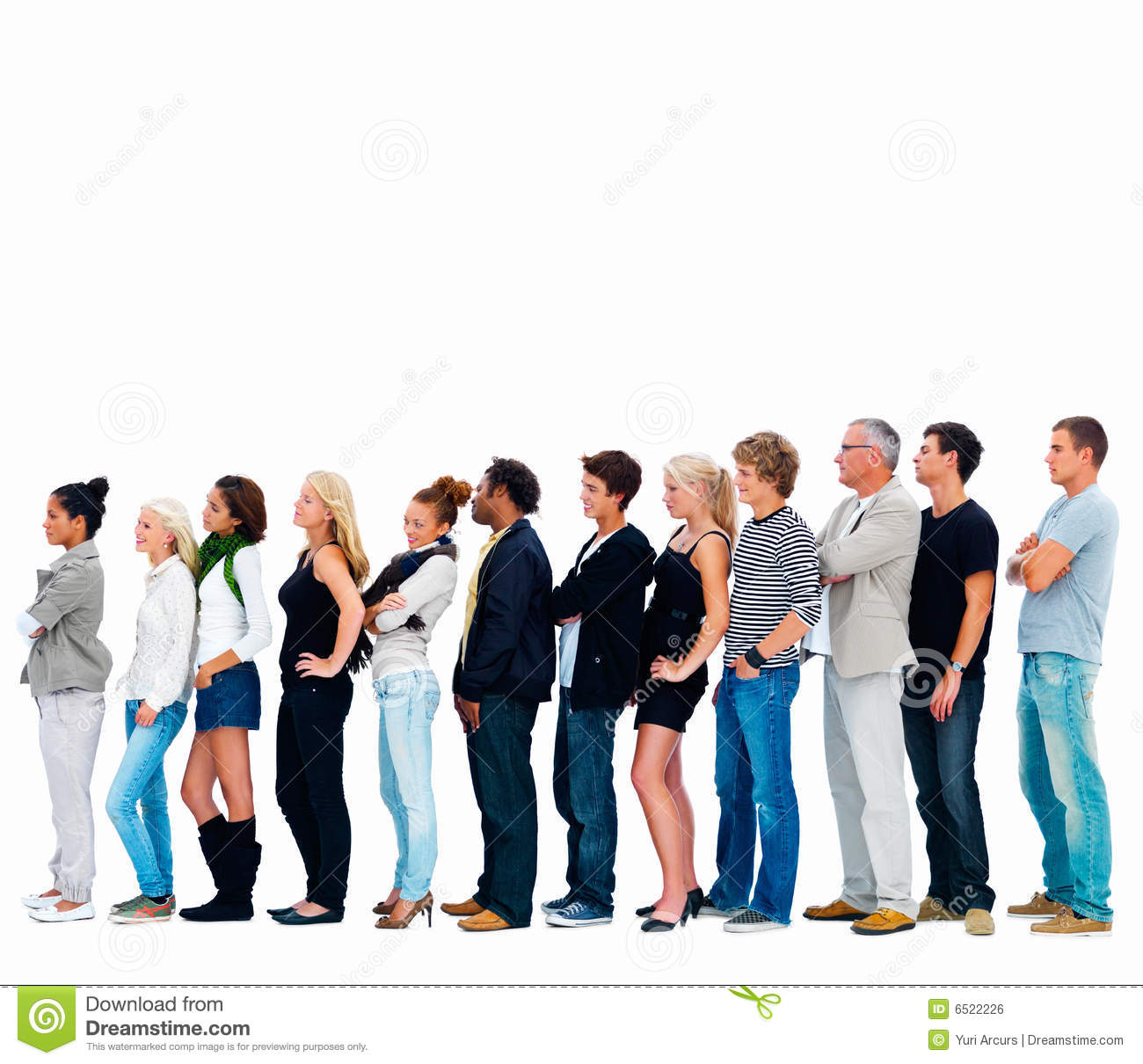 Group Of Friends Standing In A Row , Copyspace Stock Photo