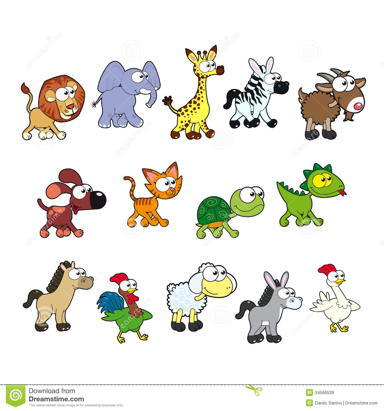 Group Of Funny Animals. Royalty Free Stock Images - Image: 34566539
