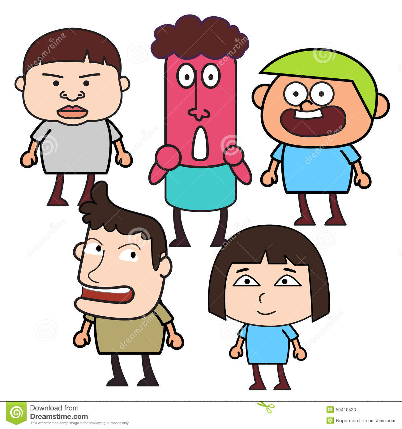 Group Of 6 Cartoon Characters : Group of funny cartoon people stock vector image