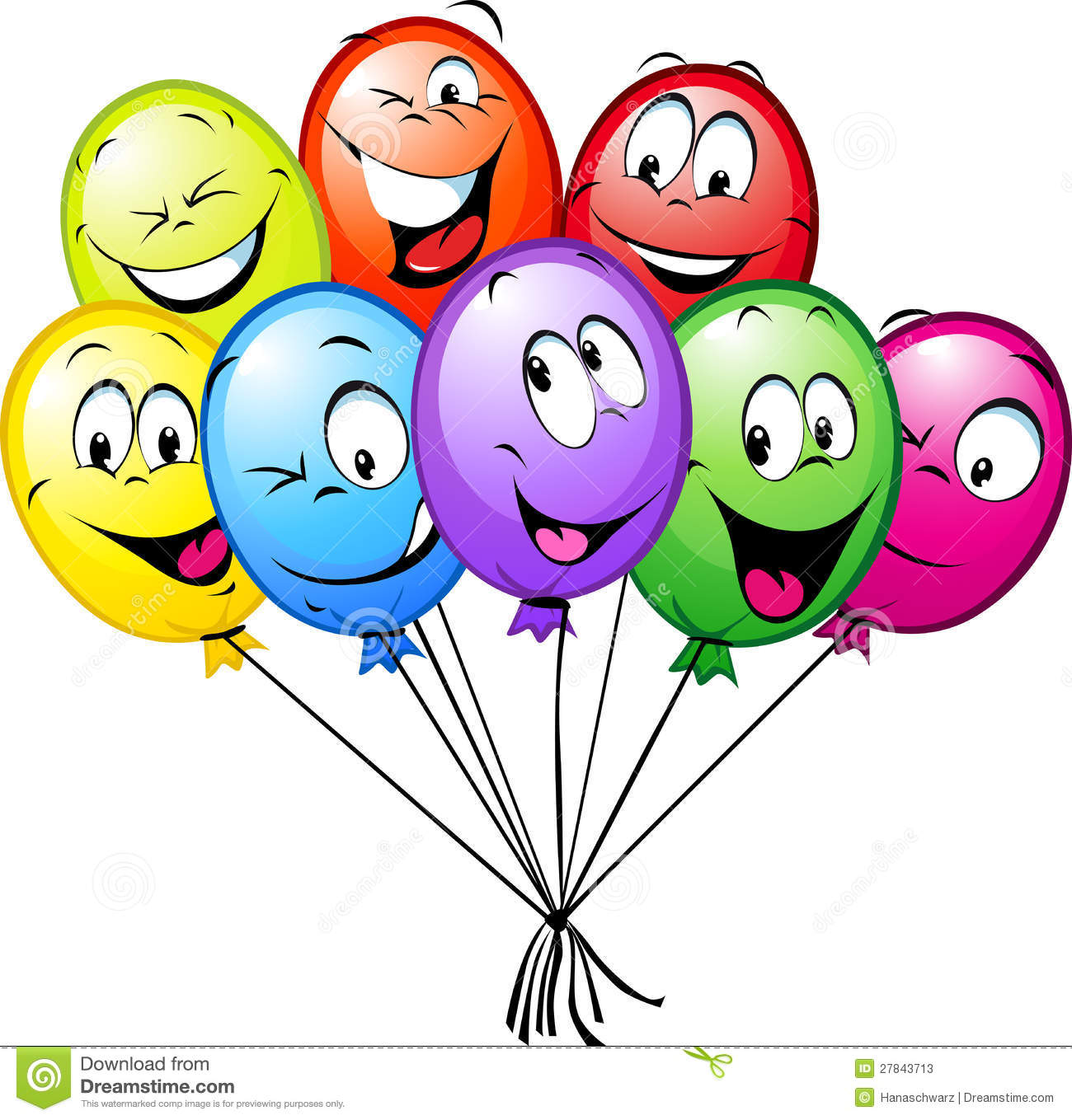 Group Of Funny Colorful Balloons Stock Vector