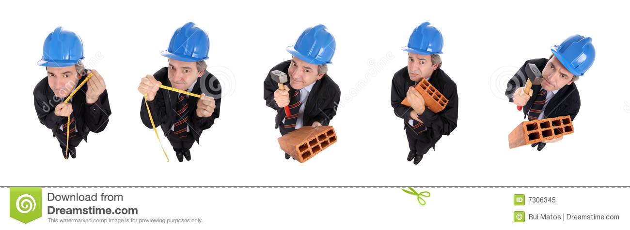 Group Of Funny Men With Hardhats Stock Image Image Of Attractive