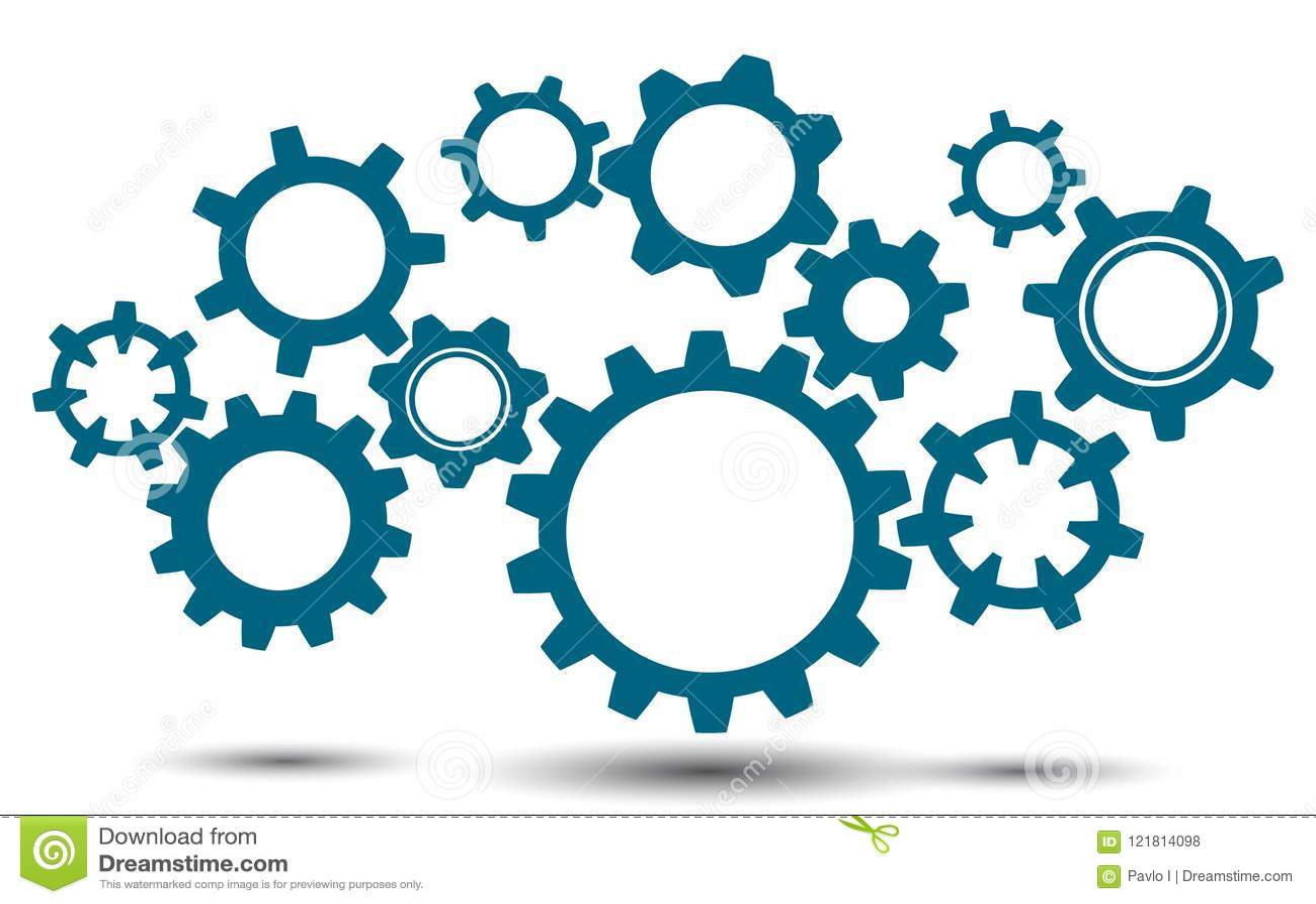 group gears, concept teamwork, generator business idea - vector