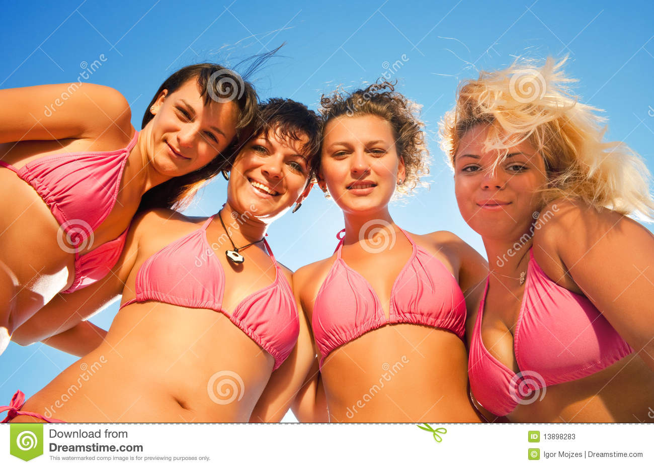 group of girls in bikinis stock image image of bikinis 13898283