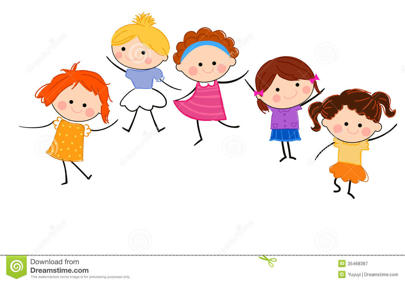 Group of girls having fun stock vector. Illustration of ...