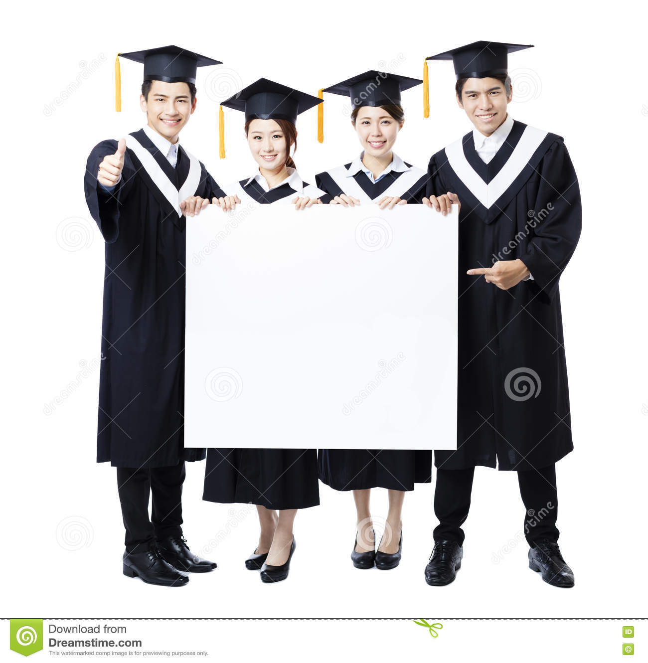 group of graduate students presenting empty banner stock photo