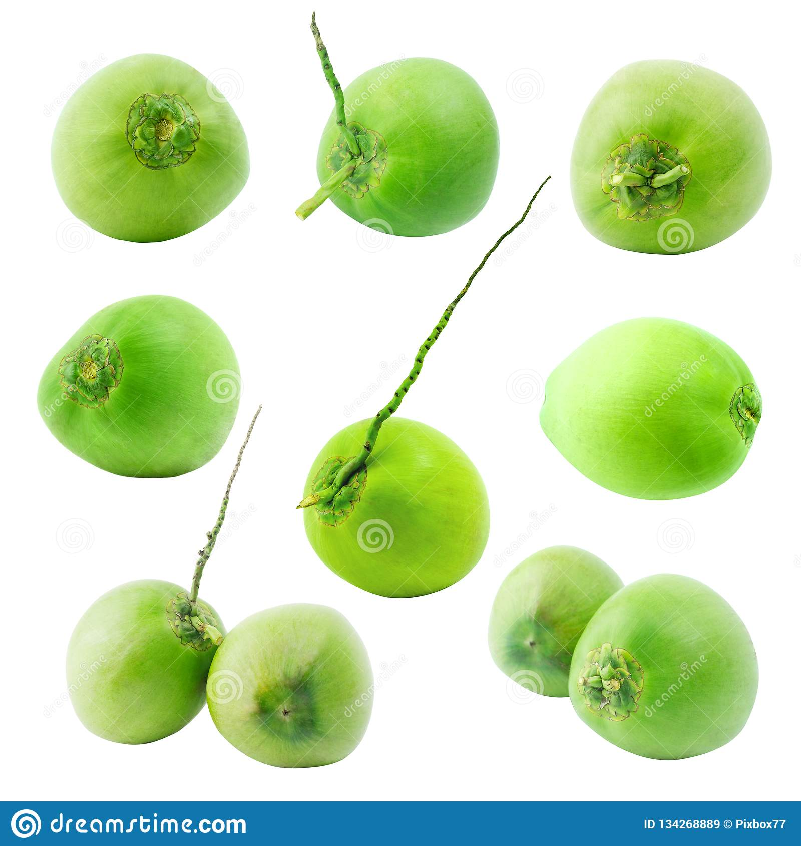 Group of green coconut fruit isolated on white background