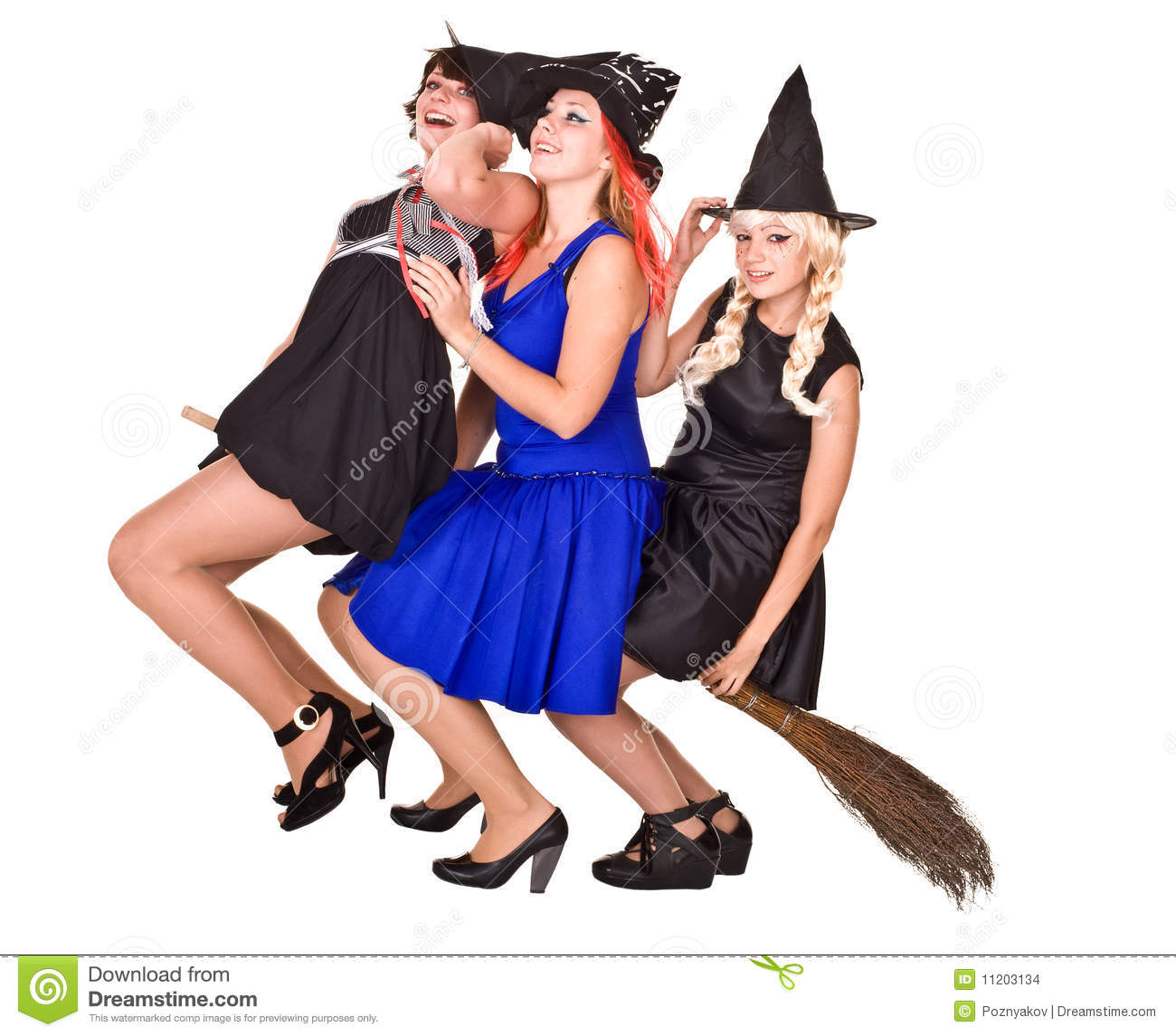 Group Halloween Witch In Costume Fly On Broom. Stock Images ...
