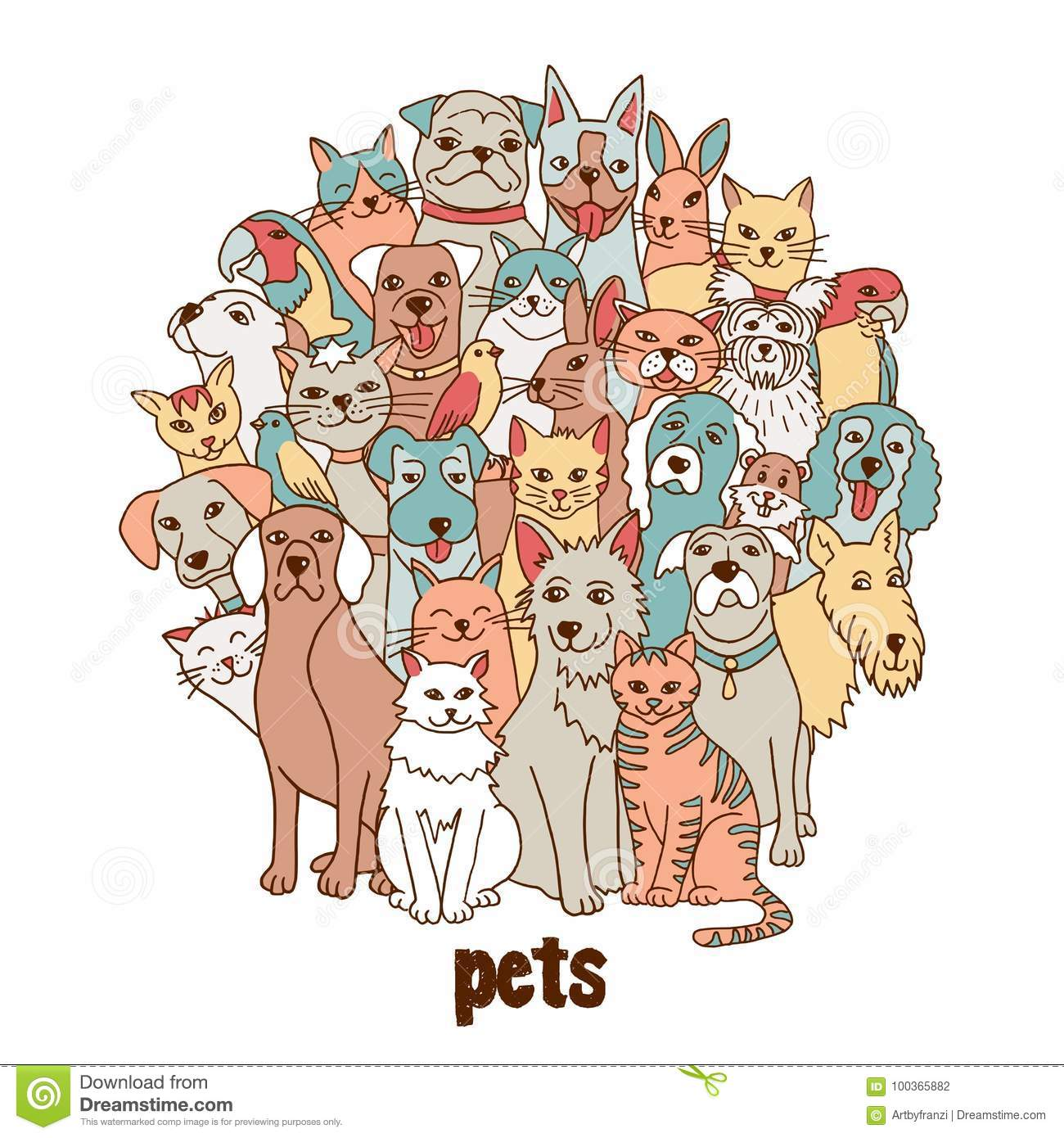 Group of hand drawn pets
