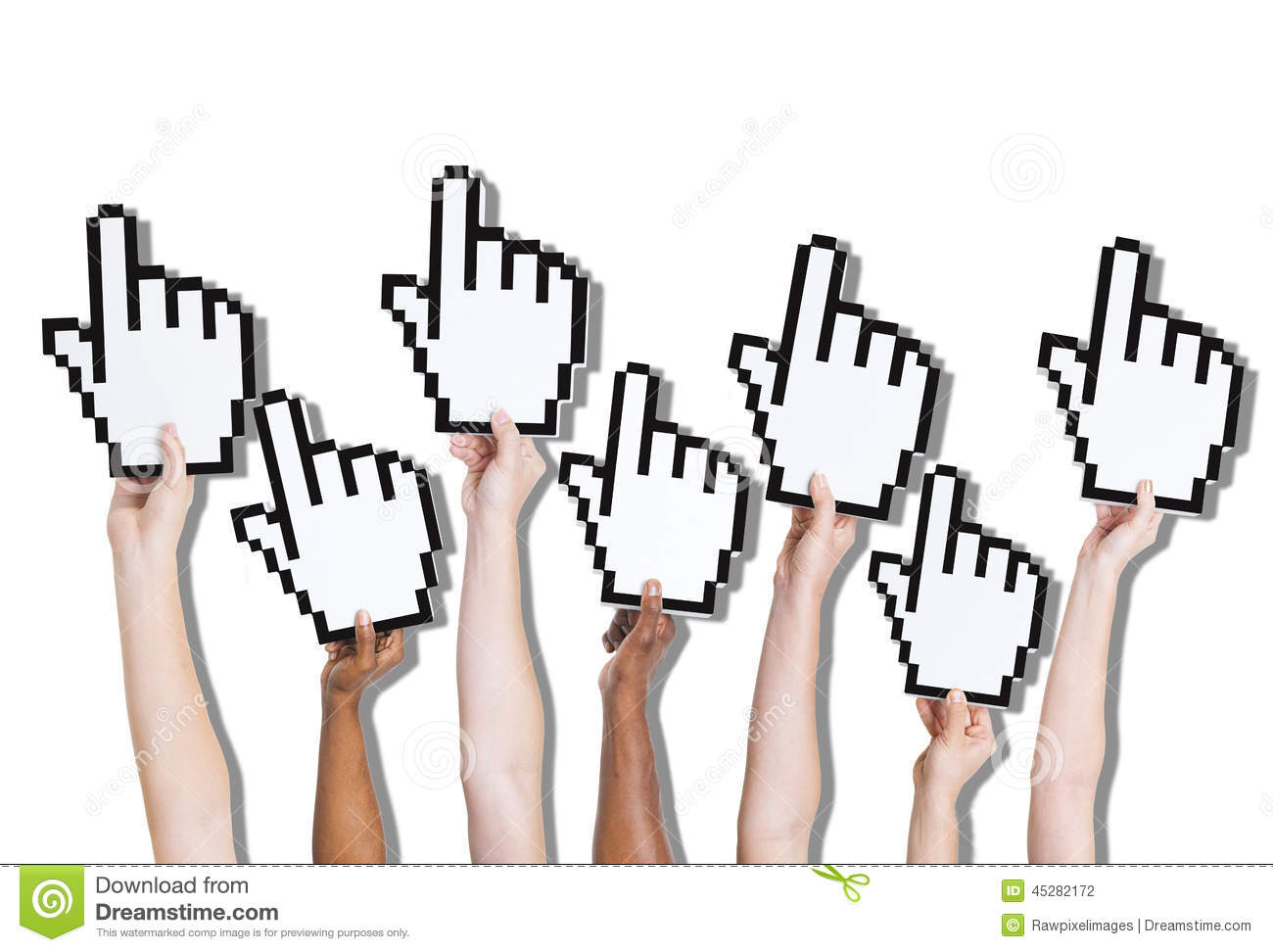 Group of Hands Holding Click Icon