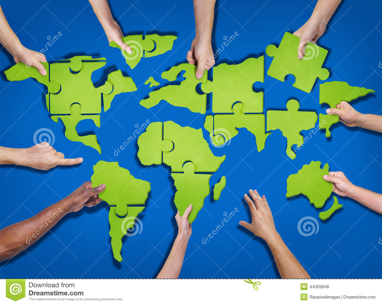 Group Of Hands Holding And Forming World Puzzle Illustration – Map World Puzzle